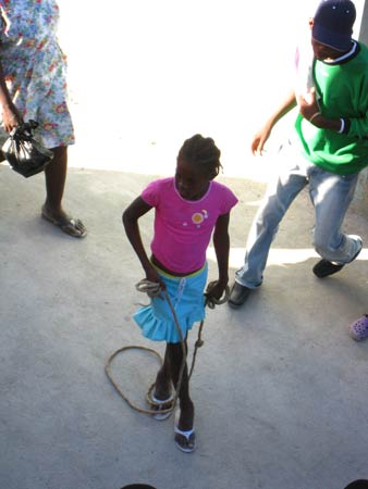 Girl jumping rope at St Claire