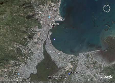Google Earth overview of Cap Haitien