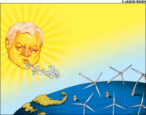 Kennedy, the sun, blows wind turbines away'