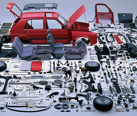 A car taken completely apart
