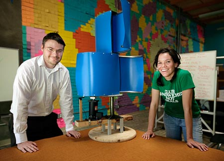 EWB-SF's Malcolm Knapp and Heather Fleming with low-cost turbine that they helped design. It will be tested in Quetzaltenango this spring. Photo courtesy Jim Merithew/Wired.com