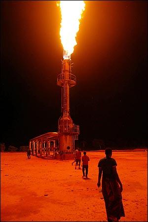 Agip's perpetual gas flare at Ebocha.