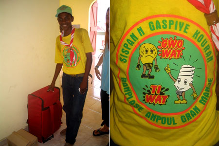 Boy Scout in Cap Haitien ready to take away wasteful bulbs