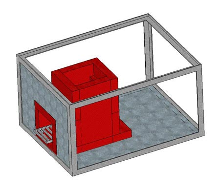 Rocket Box Stoves Cutaway in Solidworks
