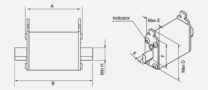 Square Body Semiconductor Protection Fuse NH00 1000V AC