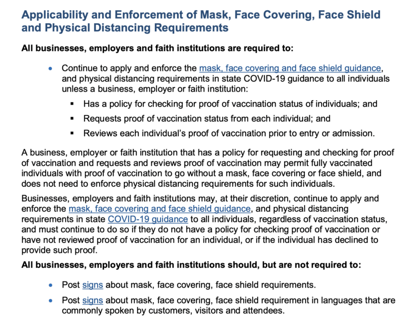 oregon mask rules