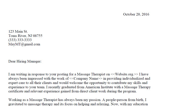 Free Lead Massage Therapist Cover Letter Examples