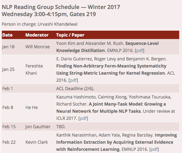 Stanford NLP reading list 2017