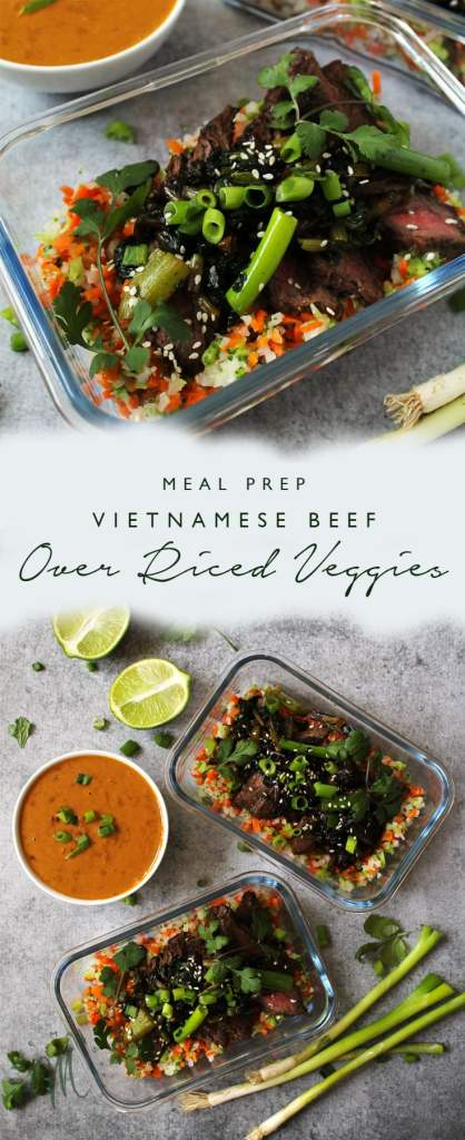 If you struggle to eat lunch every day then I suggest this Meal Prep Vietnamese Beef and Riced Veggies, which will allow you a healthy meal each day | via aimeemars.com | #MealPrep #VietnameseBeef #RicedVeggies