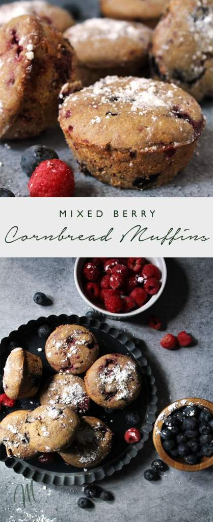 Mixed Berry Cornbread Muffins are simple and sweet. They're a slight twist on the traditional muffin and make for a perfect morning or snack time treat   via aimeemars.com   #CornbreadMuffins #MixedBerryMuffins #SweetCornbread