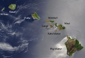 Hawaii Satellite Photo - Big Island, Maui, Kahoolawe, Lanai, Molokai, Oahu, Kauai, Niihau.