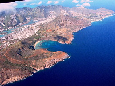 Flight over Hawaii - Hanauma Bay and Koko Head Volcanic Cone - Oahu.
