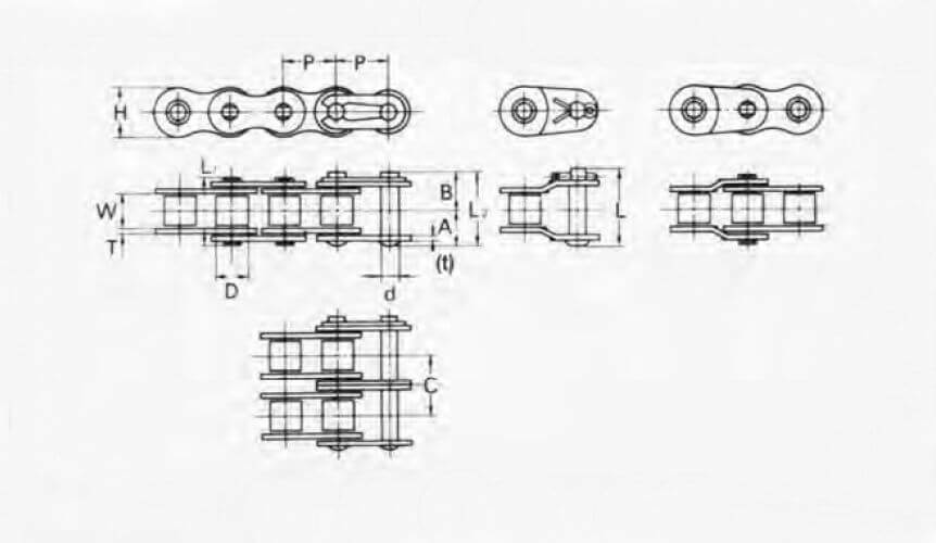 KCM 35-1 Roller Chain Simplex Strand 3/8