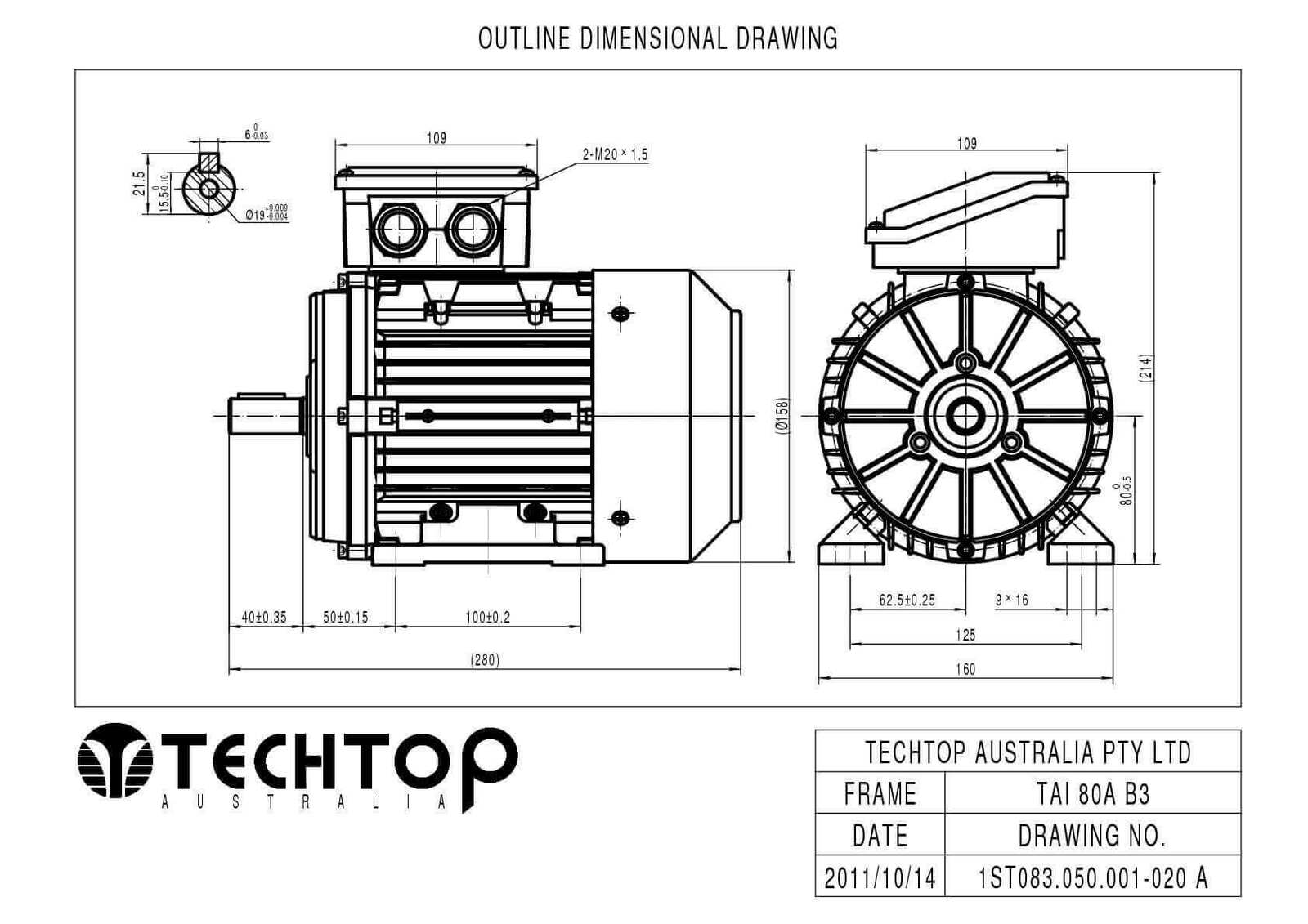 Techtop 0 55 Kw Motor 415v 3 Phase 6 Pole 900 Rpm Foot