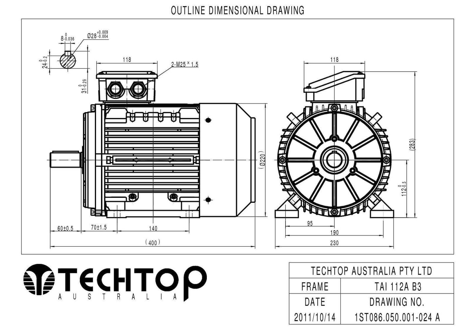 Techtop 5 5 Kw Motor 415v 3 Phase 2 Pole Rpm Foot