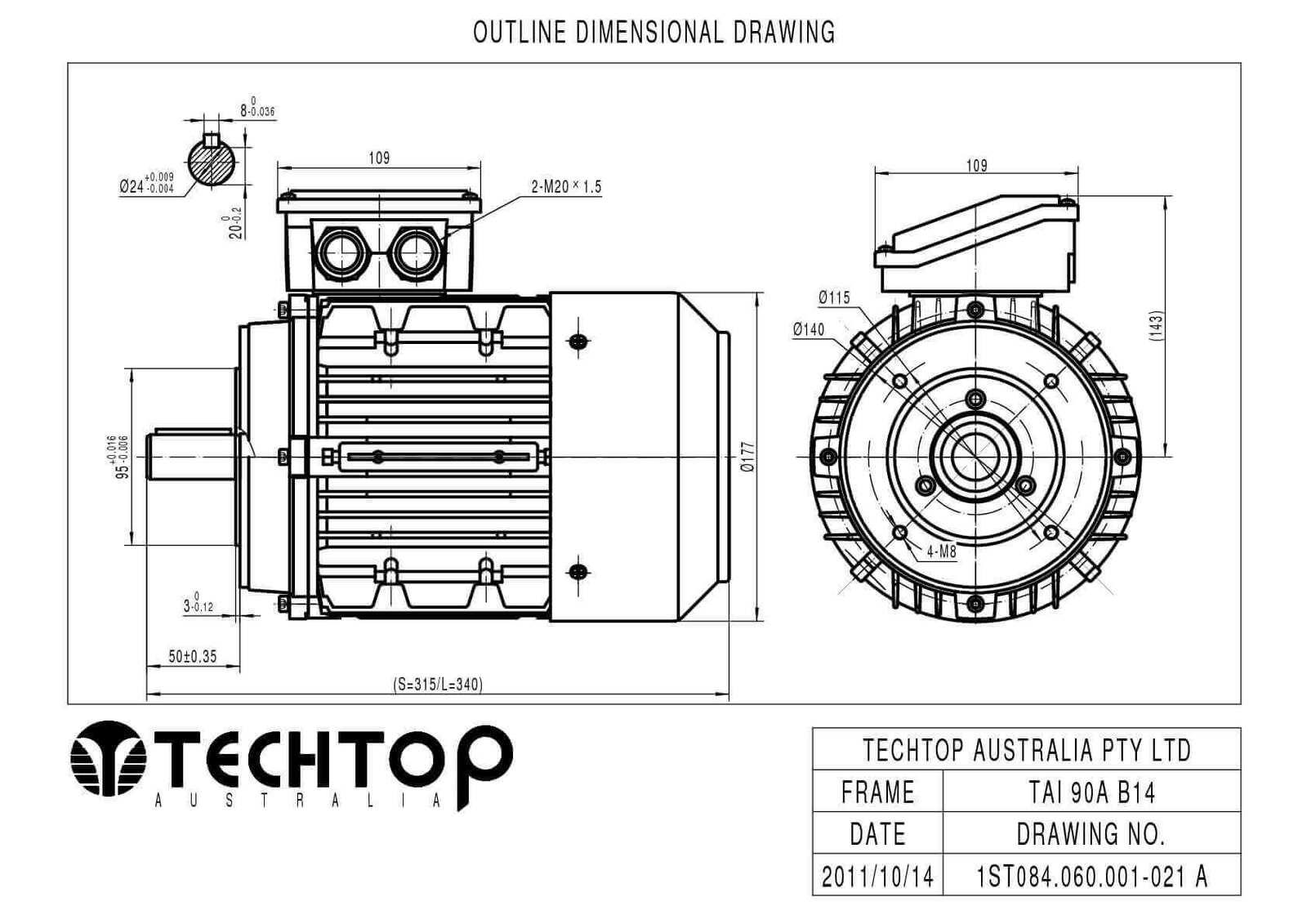 Techtop 1 1 Kw Motor 415v 3 Phase 4 Pole Rpm Flange