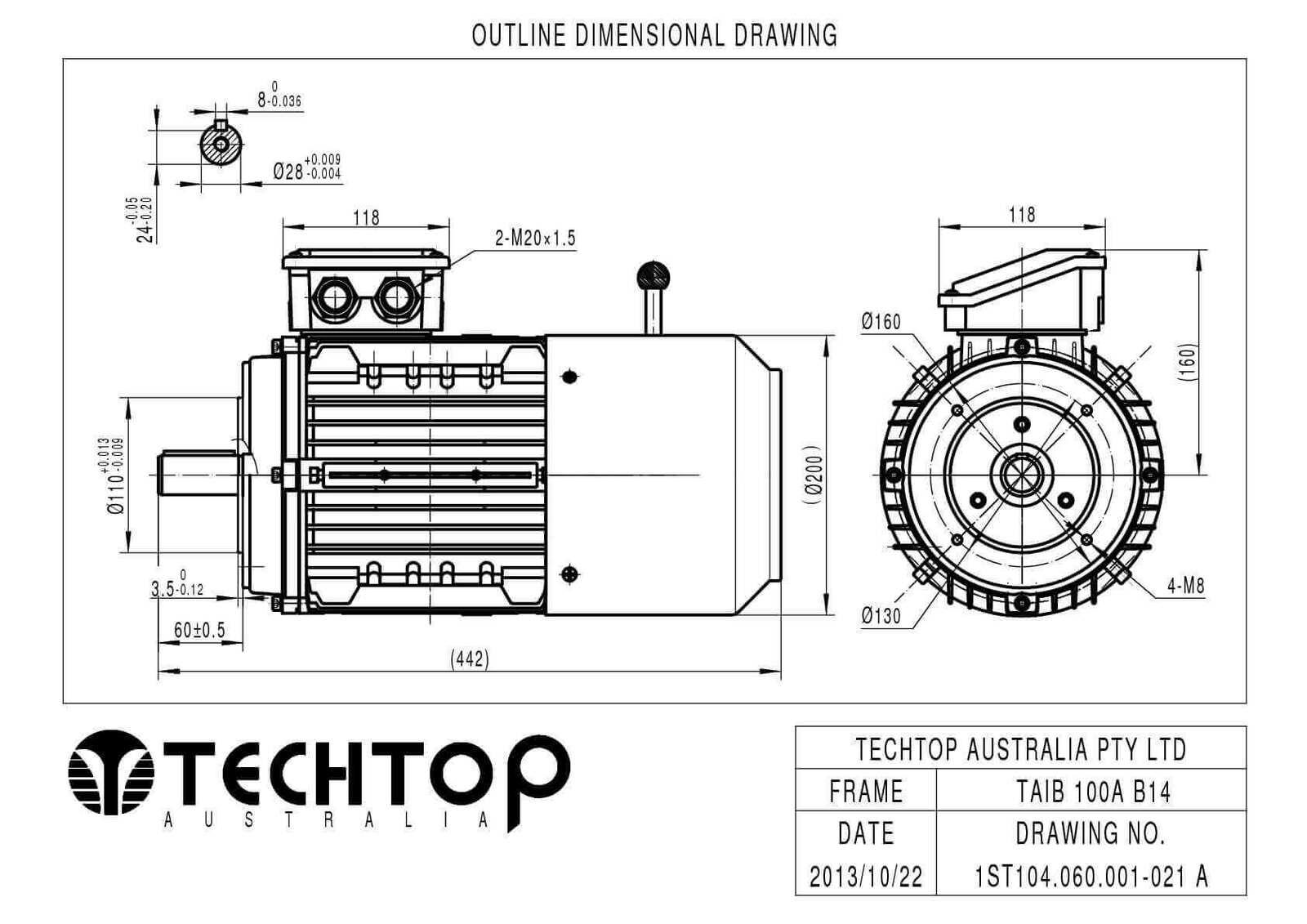 Techtop 3 Kw Motor 415v 3 Phase 4 Pole Rpm Flange