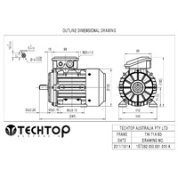 TechTop 0.37 kW Motor 415V 3 Phase 4 Pole, 1370 RPM, Foot