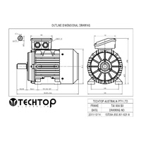 TechTop 1.1 kW Motor 415V 3 Phase 4 Pole, 1420 RPM, Foot