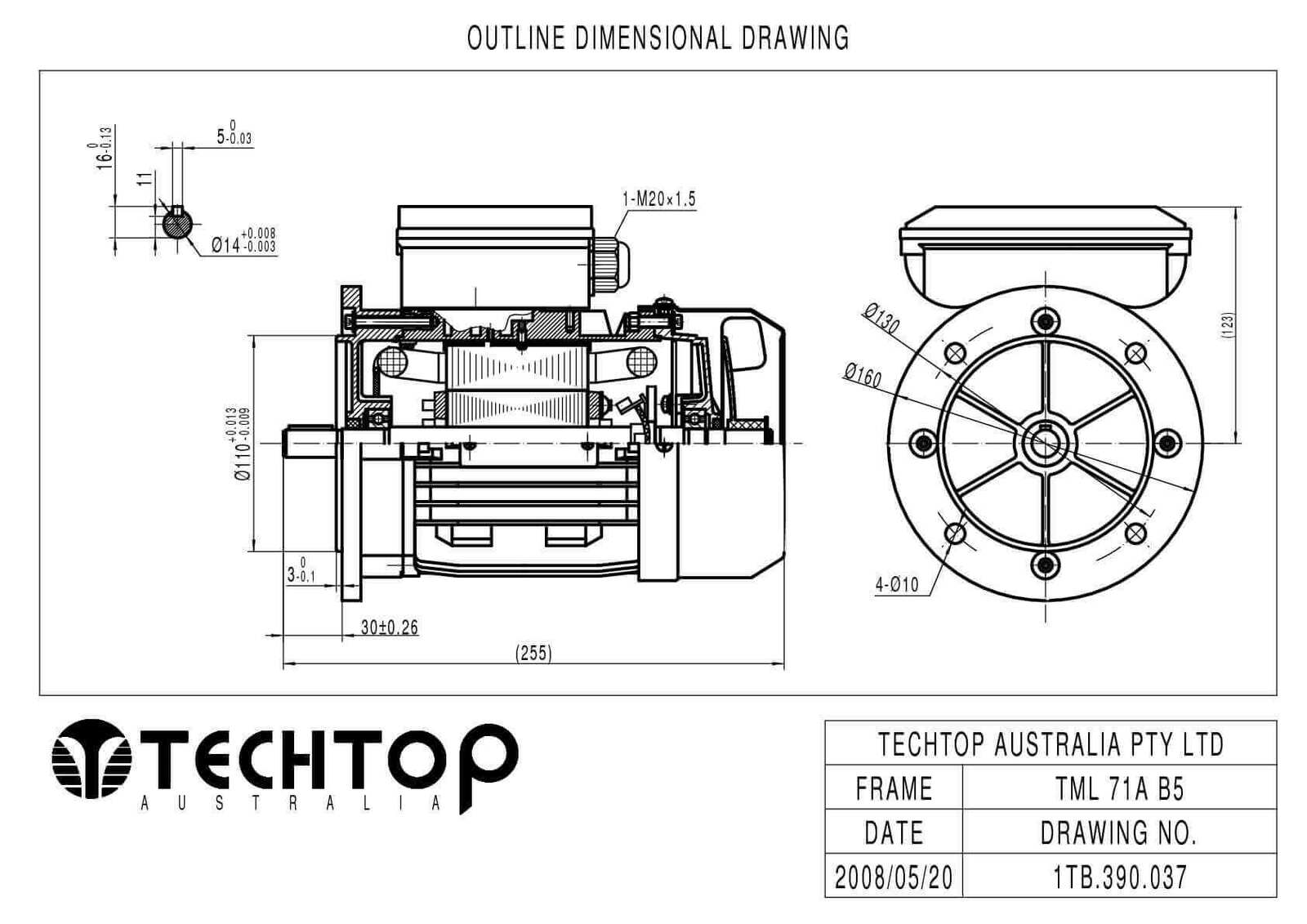 TechTop 0.37kW Motor 240V 1 Phase 2 Pole, 2780 RPM, Foot