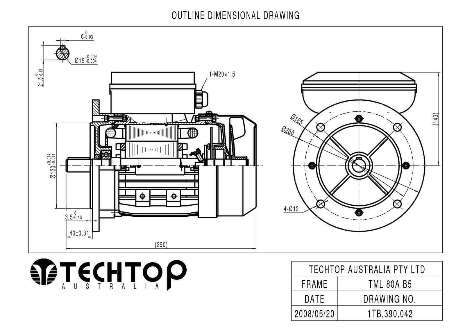 TechTop 0.75kW Motor 240V 1 Phase 2 Pole, 2800 RPM, Foot