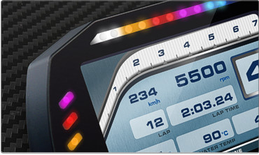 The ten multicolored RGB shift lights can be customized to your liking, defining the RPM threshold for each single gear. The same flexibility applies to the configurable RGB alarm LEDs: you can configure them in order to turn them on/off depending on analog or digital inputs, ECU values, expansion values, math channels