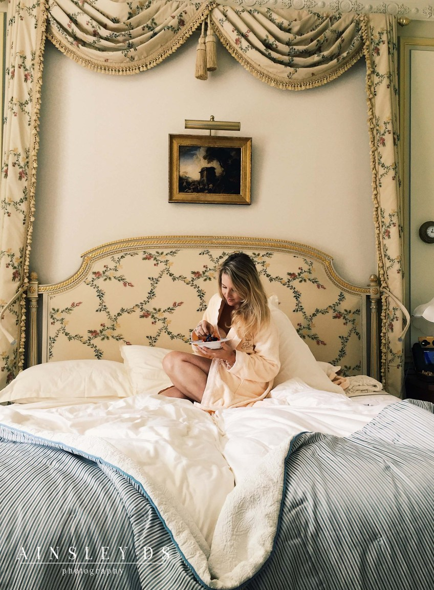 Breakfast in bed at the Ritz Paris. Review travel blogger.