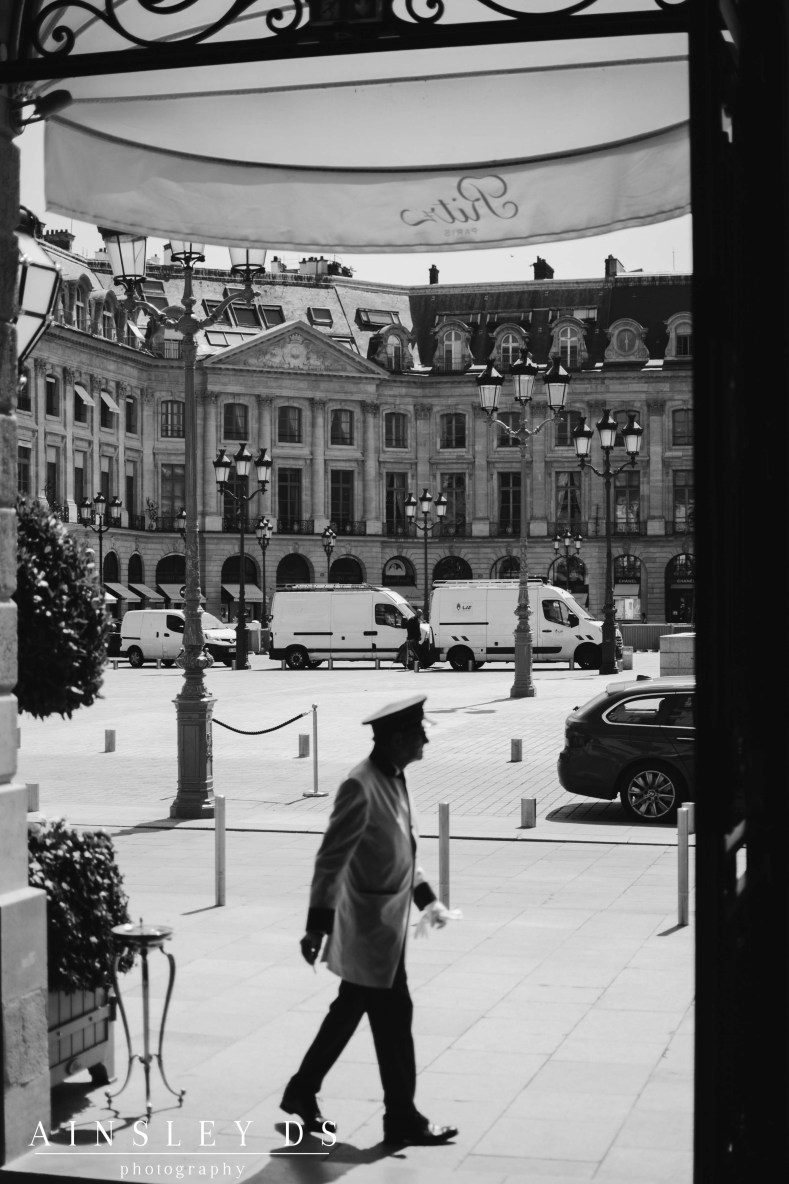 Looking into Place Vendome from the Ritz Paris. Blog and review