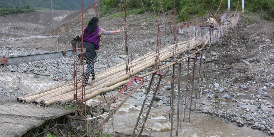 Bridge destroyed by mudslide
