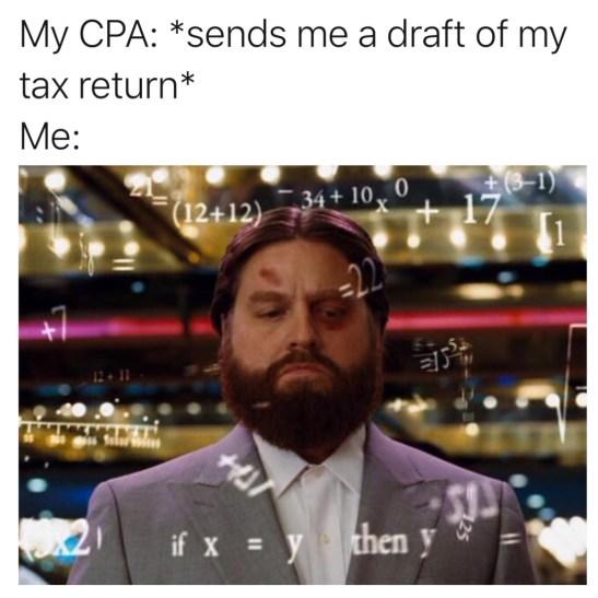 Nicholas Aiola, CPA - Tax Time Meme Dump - Hangover Counting Meme