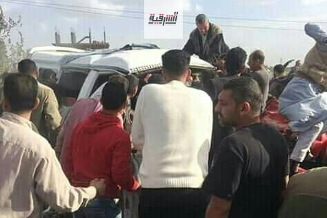 مصرع وإصابة 4 أشخاص في حادث تصادم بطريق الزقازيق / ههيا