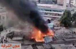 الحماية المدنية تواصل جهودها للسيطرة على حريق نفق أحمد عرابي بالزقازيق