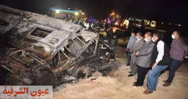 20 وفاة حتى الآن..لحظة اشتعال النيران بأتوبيس ركاب حادث أسيوط