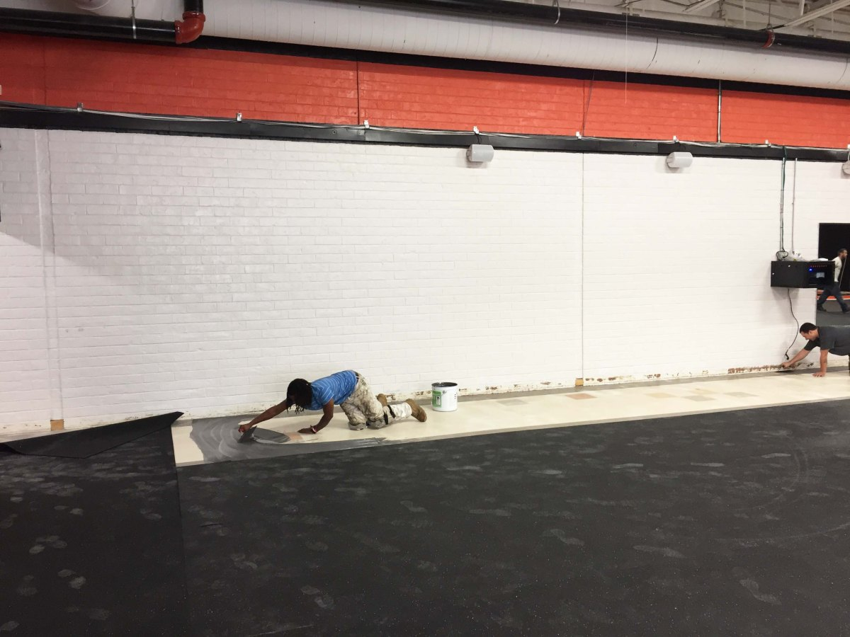 Grafton Fitness Center wall before installation