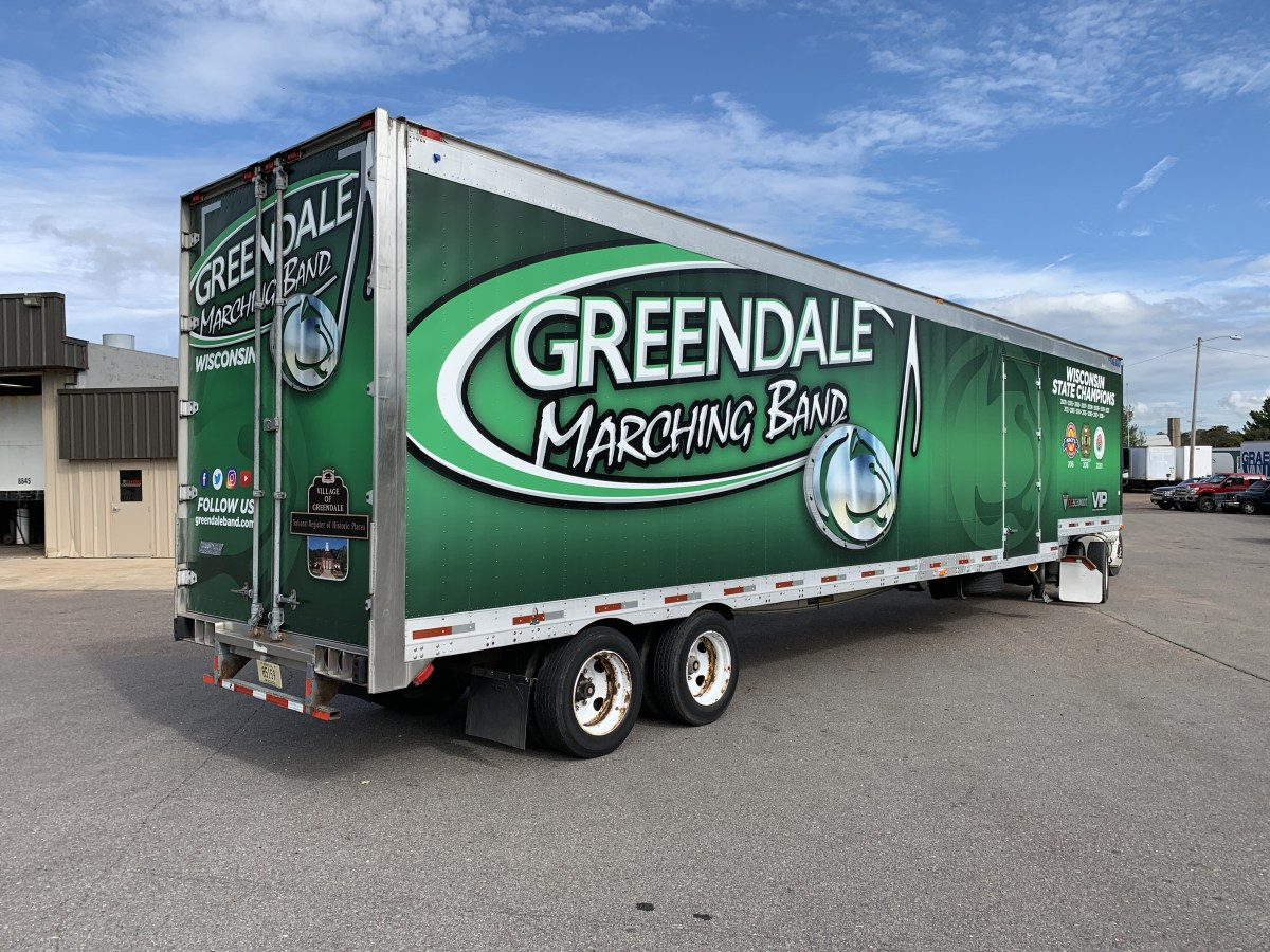 Greendale Marching Band trailer vinyl wrap