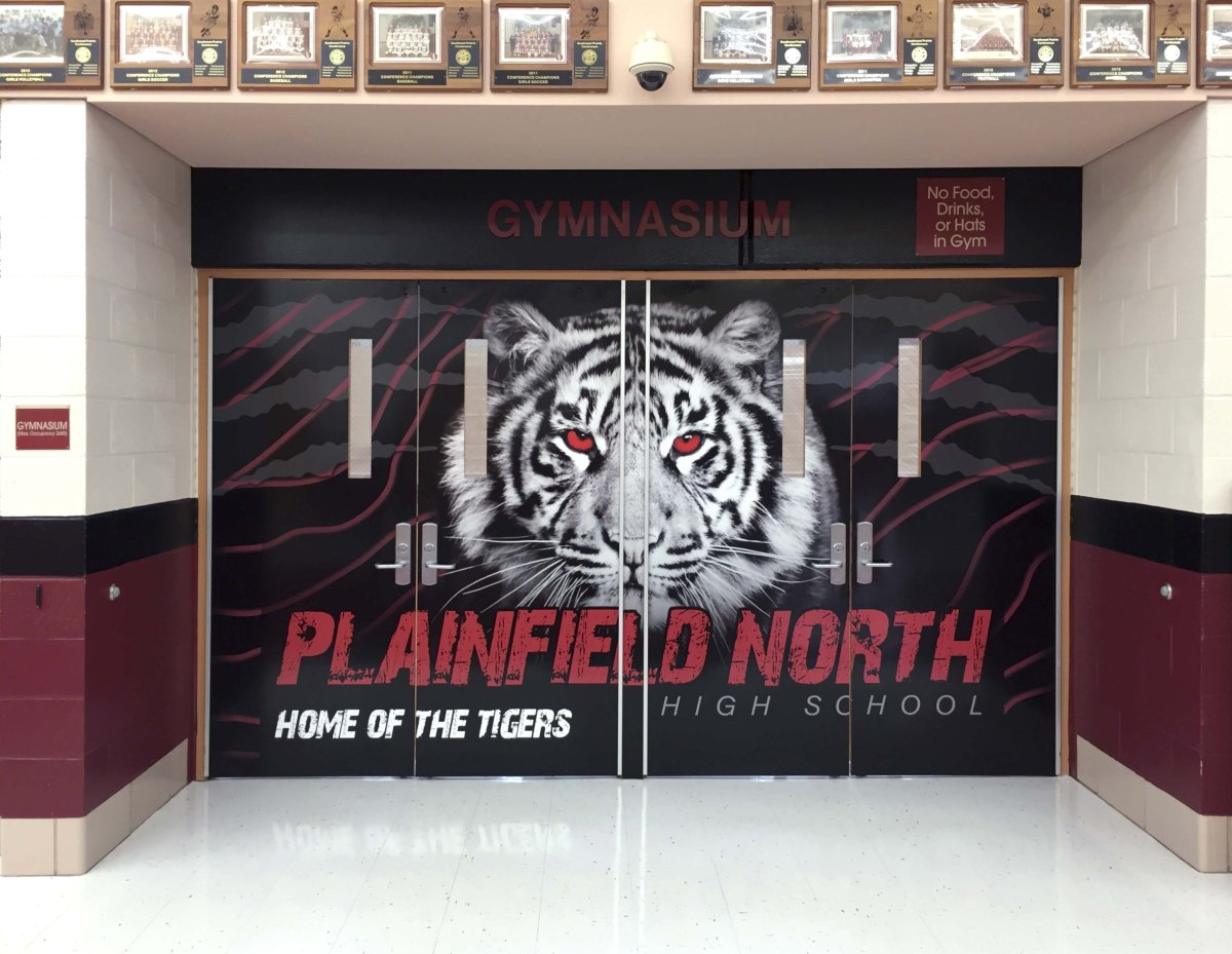 Plainfield North Quad Doors vinyl graphic