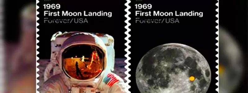 Mėnulyje. Įamžinta pašto ženkluose