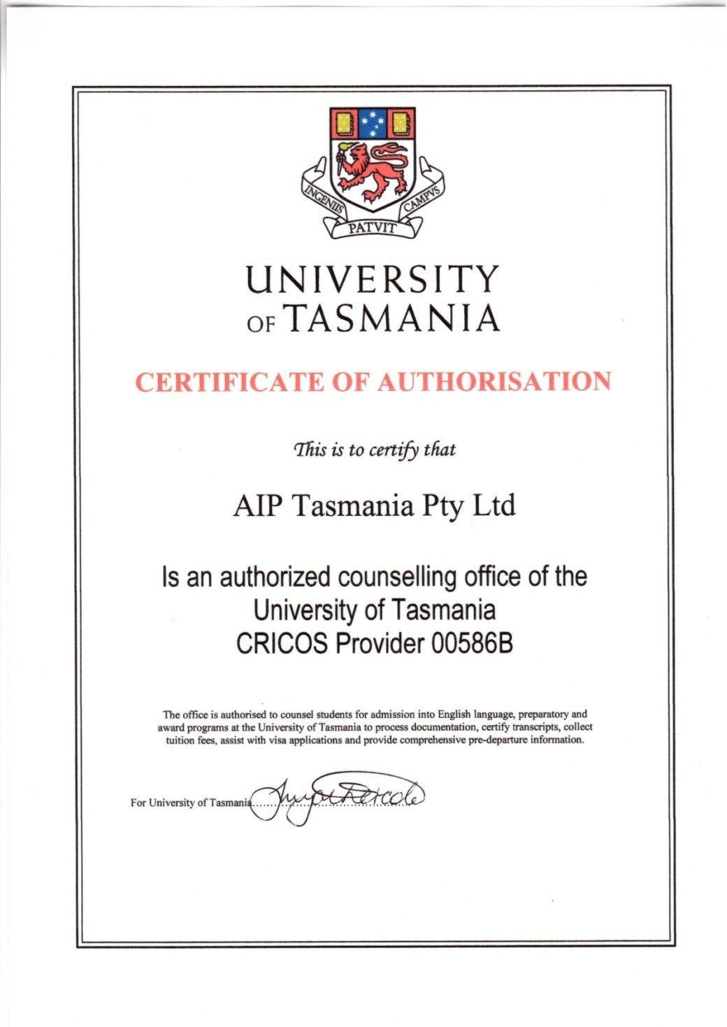 UTAS (no expire date)