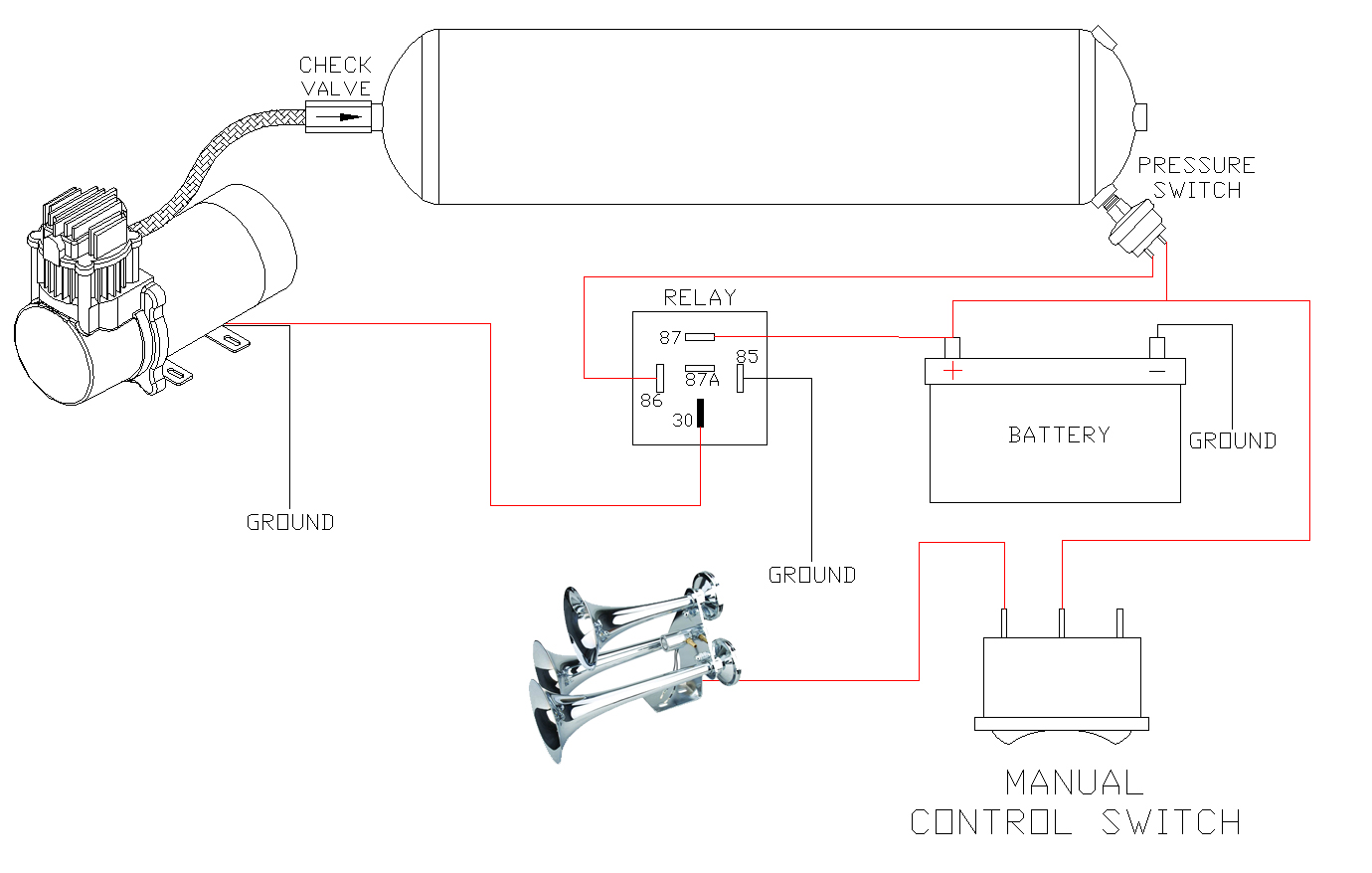 Wiring Diagram For Harley Air Ride Train Horns Quality Train Air Horn Kits For Your Car Or