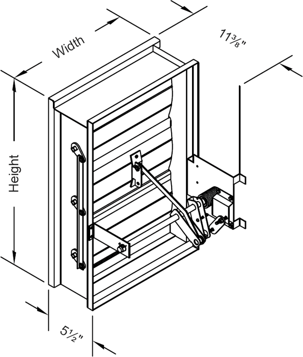 1½ Hour Rated Non-Motorized Airfoil Blade Fire Damper