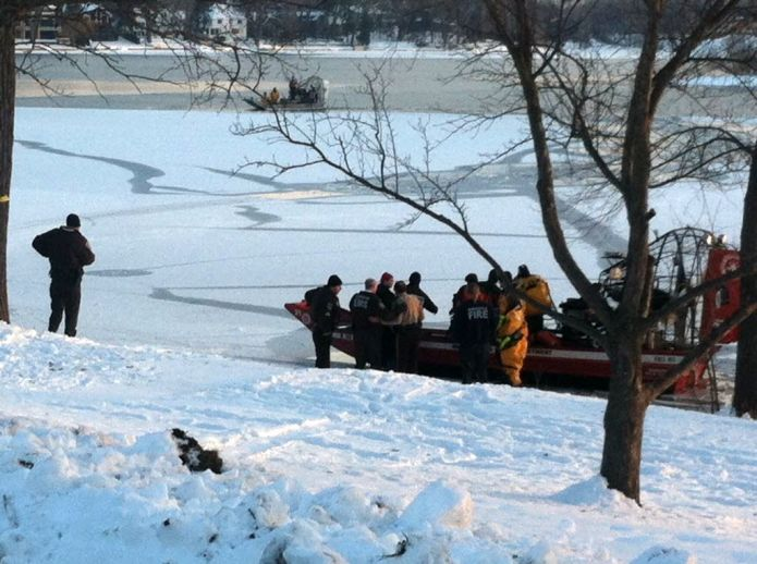 Airboat rescue at Cedar Lake in Minneapolis