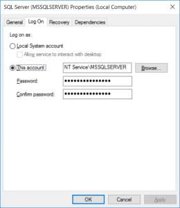 SQL Server service dialog, Log On tab