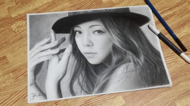 鉛筆画 安室奈美恵