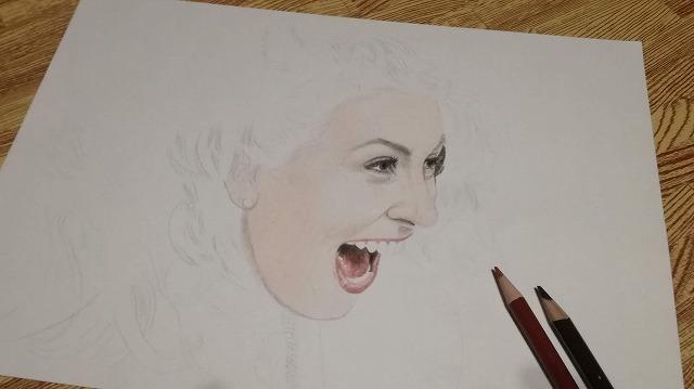 色鉛筆画 『爆笑』