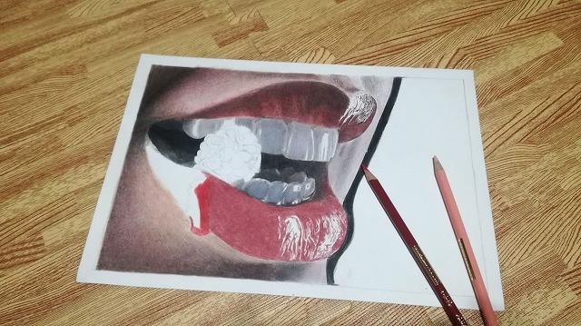 色鉛筆画 『唇』