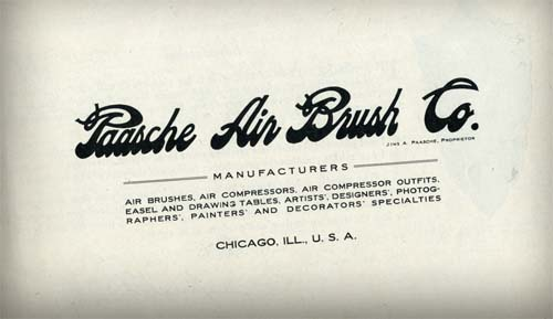 1915 Paasche airbrush cat - PAASCHE Airbrush - Big Name in Airbrush History