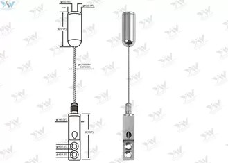Ceiling Mounted Art Cable Hanging System / Wire Suspension