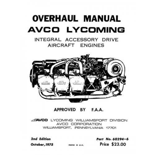 Lycoming 60294-6 Integral Accessory Drive Aircraft Engines