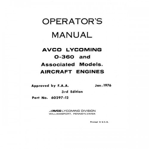 Lycoming O-360 and Associated Models 60297-12 Operators