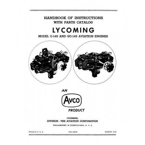 Lycoming O-145 and GO-145 Aviation Engines Parts and